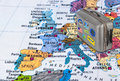 Europe map and travel case with stickers (my photos) Royalty Free Stock Photo