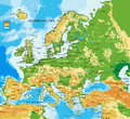 Europe - physical map Royalty Free Stock Photo