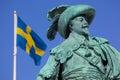 Europe, Scandinavia, Sweden, Gothenburg, Gustav Adolfs Torg, Bronze Statue of the town founder Gustav Adolf at Dusk Royalty Free Stock Photo