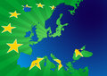 Europe stars illustration of map with yellow Royalty Free Stock Photography