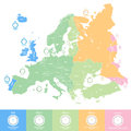 Europe time zones vector map with clocks icons