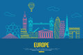 Europe travel background with place for text. Isolated European outlined sightseeings and symbols. Skyline detailed Royalty Free Stock Photo