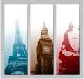 Europe travel banners illustration eps Royalty Free Stock Images