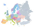 Europe vector high detailed colourful political map with regions borders and countries names