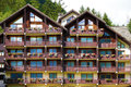 European alpine ski resort chalet hotel, front view Royalty Free Stock Photo