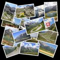 European alps photo collage from collage includes best landscapes of mountains in austria switzerland and italy Stock Photography