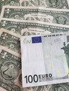 European banknote of 100 euro and american one dollar bills Royalty Free Stock Photo