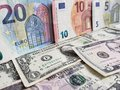 European banknotes and American dollars bills of different denominations Royalty Free Stock Photo