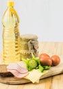European breakfest wirh eggs on light background Stock Image
