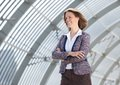 European business woman smiling with arms crossed Royalty Free Stock Photo