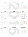 European calendar for the year Royalty Free Stock Photo