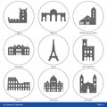 European capitals icon set part symbolized by their main landmark building Stock Images
