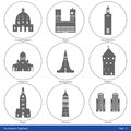 European capitals icon set part symbolized by their main landmark building Royalty Free Stock Photos