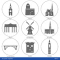European capitals icon set part symbolized by their main landmark building Royalty Free Stock Images