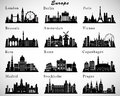 European cities skylines set vector silhouettes Royalty Free Stock Image