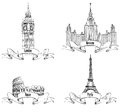 European cities symbols sketch collection paris london rome moscow eiffel tower big ben westminster abbey colosseum lomonosov Royalty Free Stock Photo