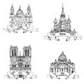 European cities symbols sketch collection paris london rome moscow travel europe set famous landmarks city notre dame cathedral st Stock Photo