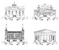 European cities symbols sketch set athens berlin madrid vienna landmarks label city travel europe symbol collection hand drawn Stock Images