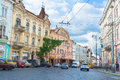 The european city chernivtsi ukraine june scenic colorful mansions located on golovna main street there are old hotels stores and Stock Photo