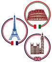 European city landmarks illustration of landmark buttons showing the colosseum eiffel tower and palace of westminster Stock Photos