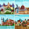 European Cityscapes Concept Icons Set Royalty Free Stock Photo