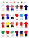 European Clubs Jerseys Football Kits A Royalty Free Stock Image