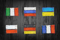 European countries flags made of vector wooden pla Stock Image