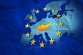 European crisis cyprus contour at the creased map of european union Royalty Free Stock Photo