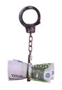 European currency with handcuff Stock Photo