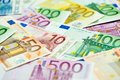 European currency money euro banknotes bill close up Royalty Free Stock Photo