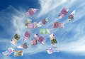 European currency shot as if flying away Royalty Free Stock Photos
