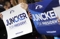 European election campain epp juncker sofia bulgaria april supporters of people's party hold boards during official opening of Stock Photo
