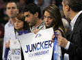 European election campain epp juncker sofia bulgaria april supporters of people's party hold boards during official opening of Royalty Free Stock Photo