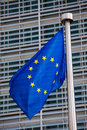 European flag in front of the berlaymont building headquarters of the commission in brussels Royalty Free Stock Images