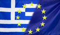 European flag merged with greece flag and union relations concept diagonally flags Royalty Free Stock Images