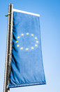 European flag modern in front of blue sky photo Royalty Free Stock Photography