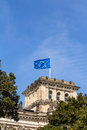 European flag on the reichstag building berlin in Stock Photo