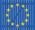 European flag on wooden fence painted Royalty Free Stock Photography