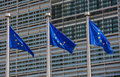 European flags in front of the berlaymont building headquarters of the commission in brussels Royalty Free Stock Image