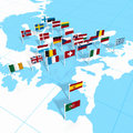 European flags on map Stock Image