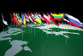 European Flags on Map (East view) Royalty Free Stock Image