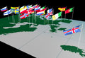 European Flags on Map (North view) Royalty Free Stock Photos