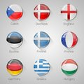 European flags set glossy buttons with long shadows. Royalty Free Stock Photo
