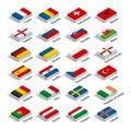 European football championship 2016 in France groups vector. Flat 3d isometric illustration.
