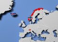 European Free Trade Association EFTA 3d render in map