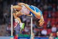 European indoor athletics championship gothenburg sweden march gianmarco tamberi italy places th in the men s high jump finals Stock Photography