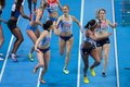 European indoor athletics championship gothenburg sweden march shana cox great britain and her team win the women s x m relay Stock Photo