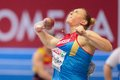 European indoor athletics championship gothenburg sweden march yevgeniya kolodko russia places nd in the women s shot put finals Royalty Free Stock Photos