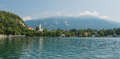 European lake panoram with old church Royalty Free Stock Photo