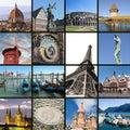 European landmarks collage Royalty Free Stock Photo